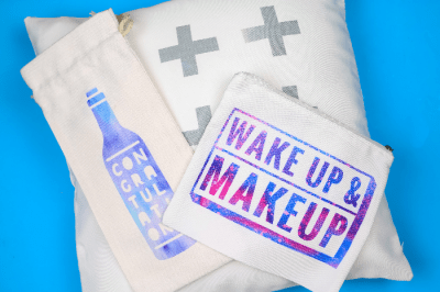 3 Infusible Ink projects: Pillow, Makeup bag, Wine gift bag