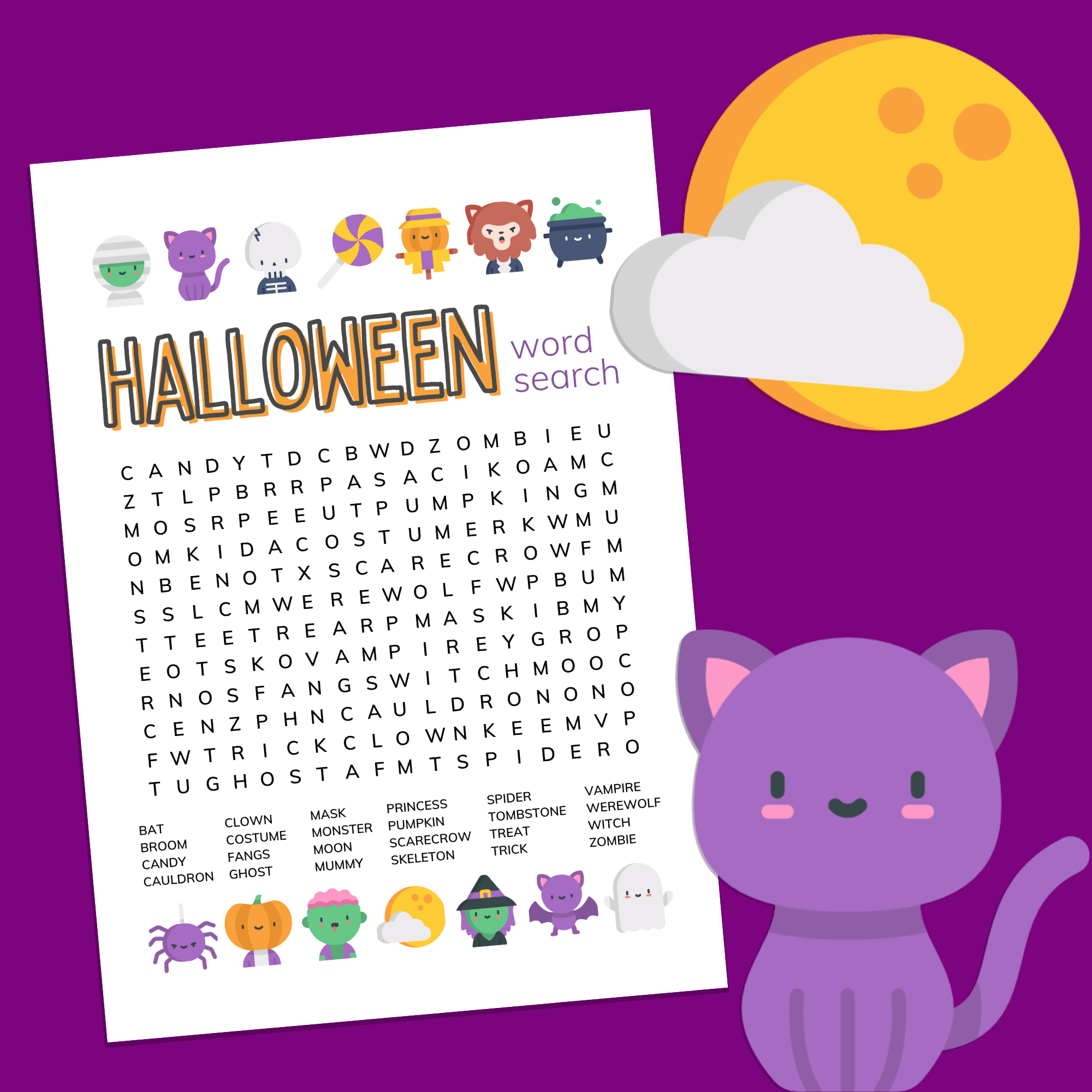 Halloween word search printable on a purple background with a cartoon spider