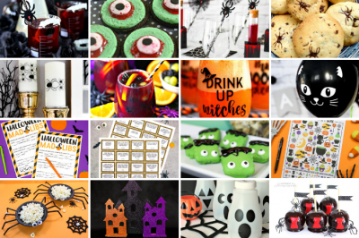 collage of DIY Halloween crafts and recipes