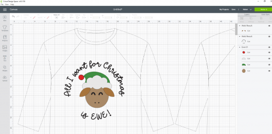 All I Want for Christmas is EWE SVG design in Cricut Design Space