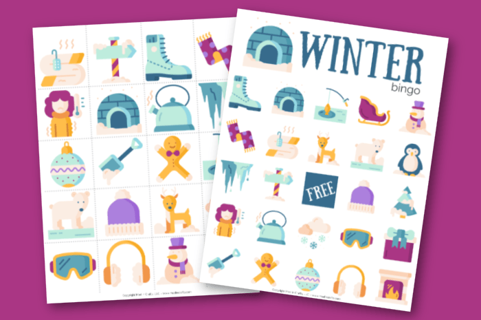 Winter Bingo Game printables on a purple background