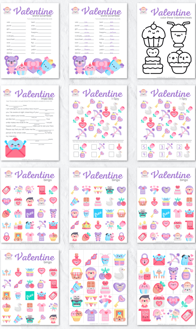 Collage of Printable Valentines Day Activities