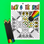 St. Patrick's Day Coloring Page on a green background