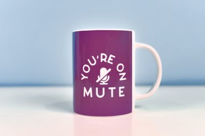You're on Mute mug with a blue background