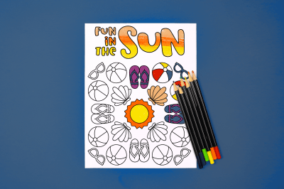 colored summer coloring page with colored pencils