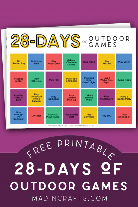 outdoor game calendar on a purple background
