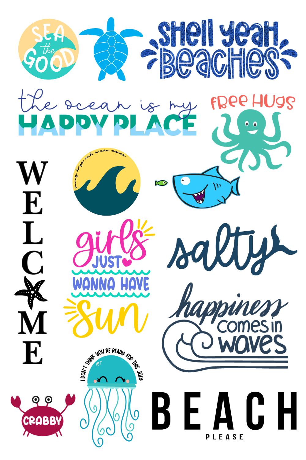 collage of sea SVG files