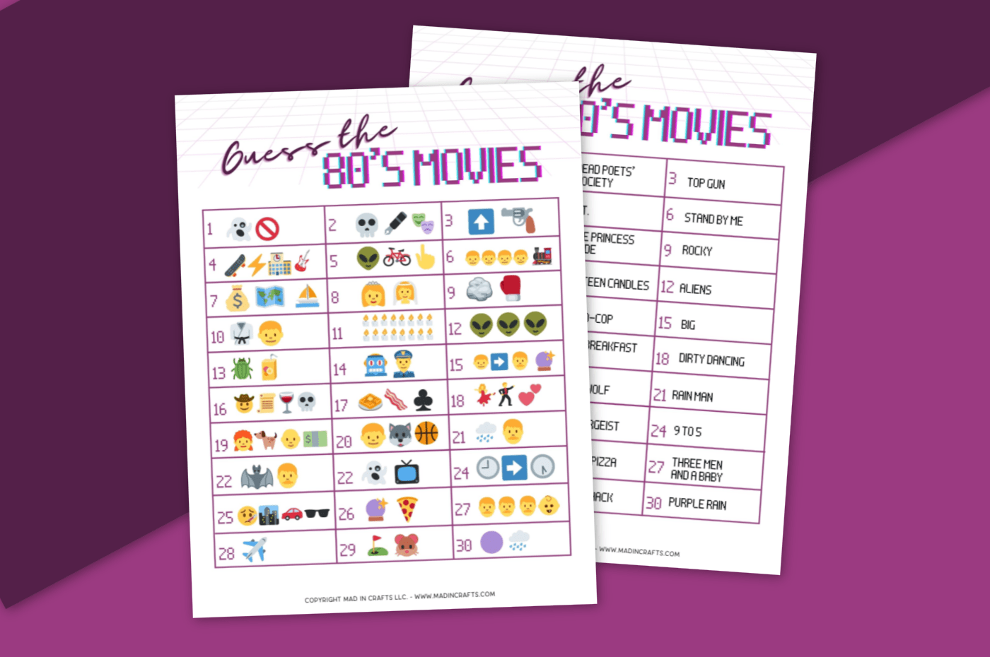 Guess the 80s Movie Emoji prinable game and answers