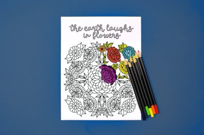 The earth laughs in flowers coloring page with colored pencils