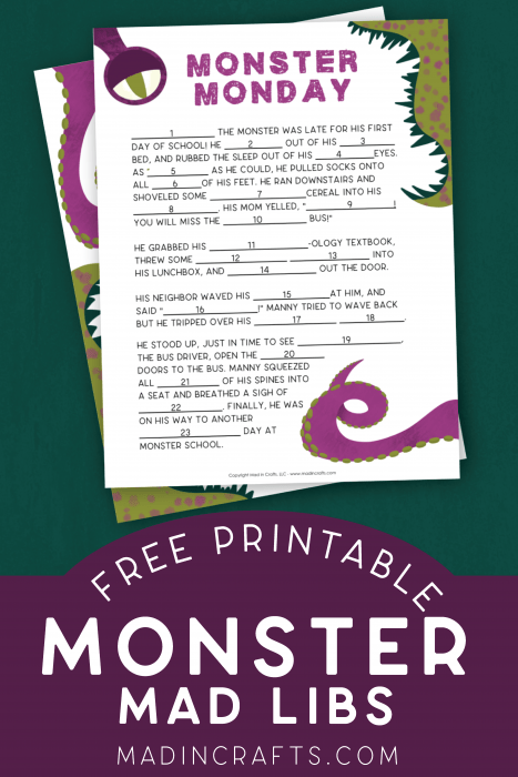 monster mad libs printables on a green background
