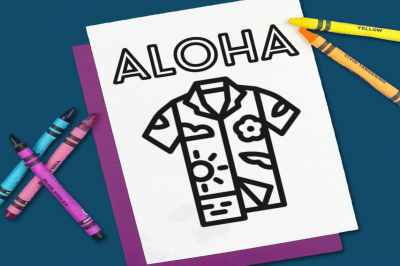 Aloha Coloring Page with crayons
