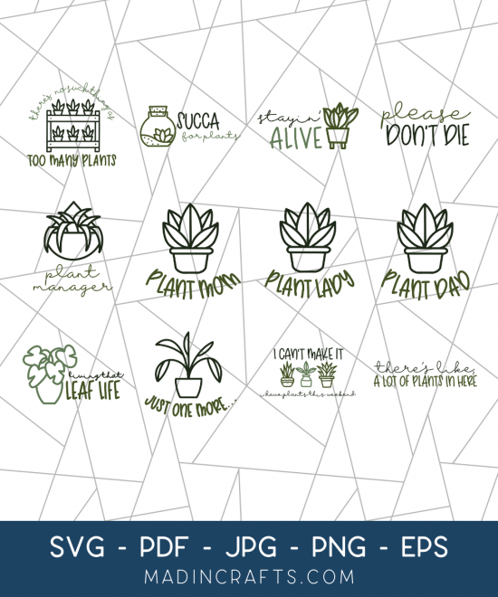 collage of hand drawn plant themed svg files