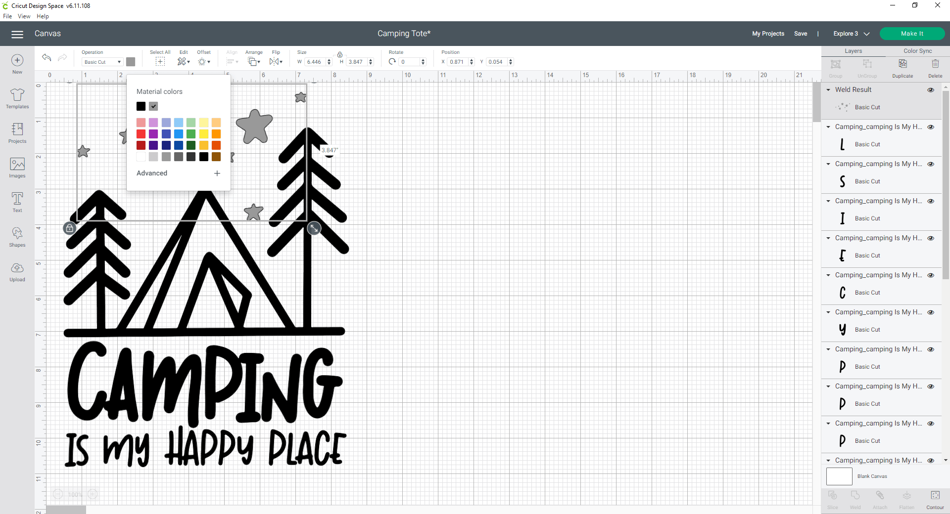 Cricut Design Space change the color of the elements to match vinyl