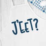 J'eet SVG design on a white apron