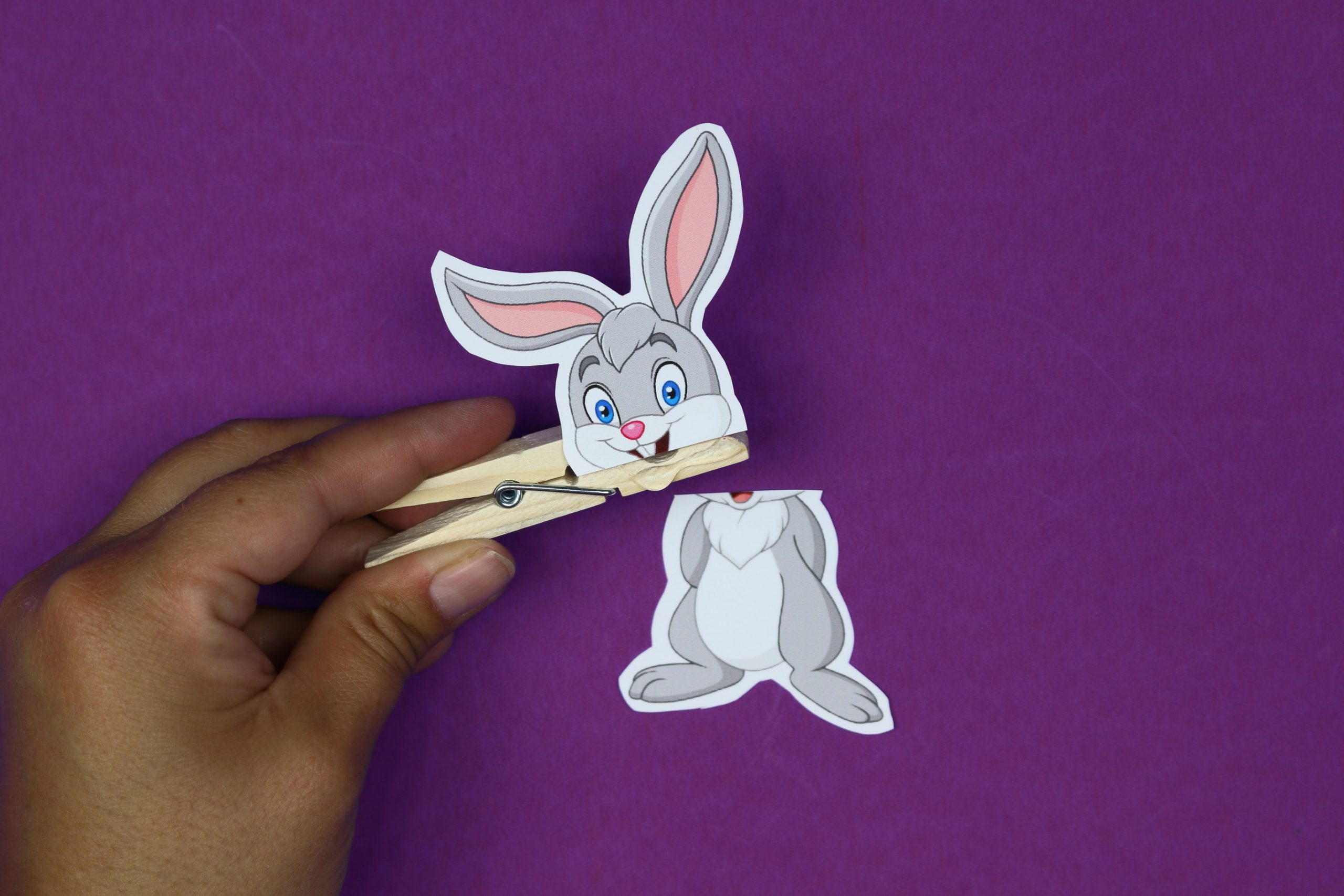 bunny printable glued to a clothespin on a purple background