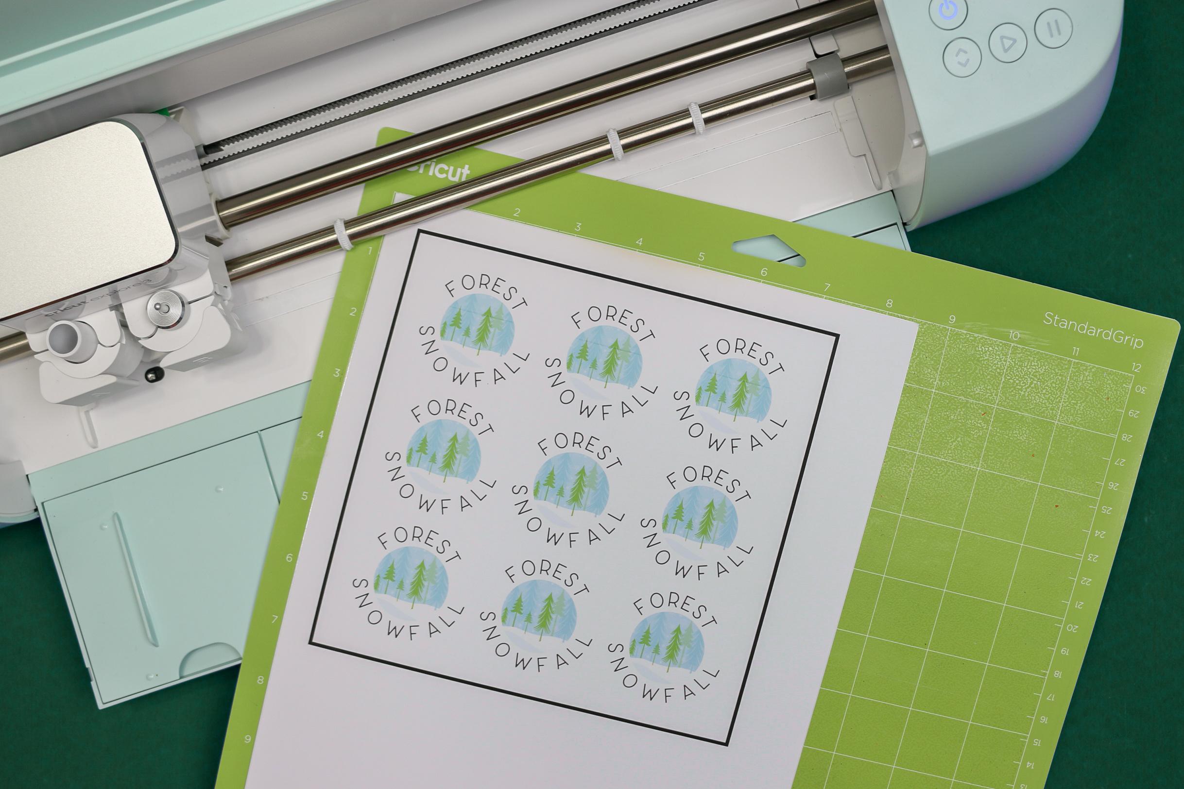 Candle label printout on Cricut mat