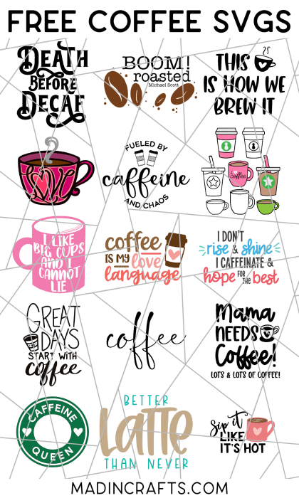 collage of free coffee themed svg files