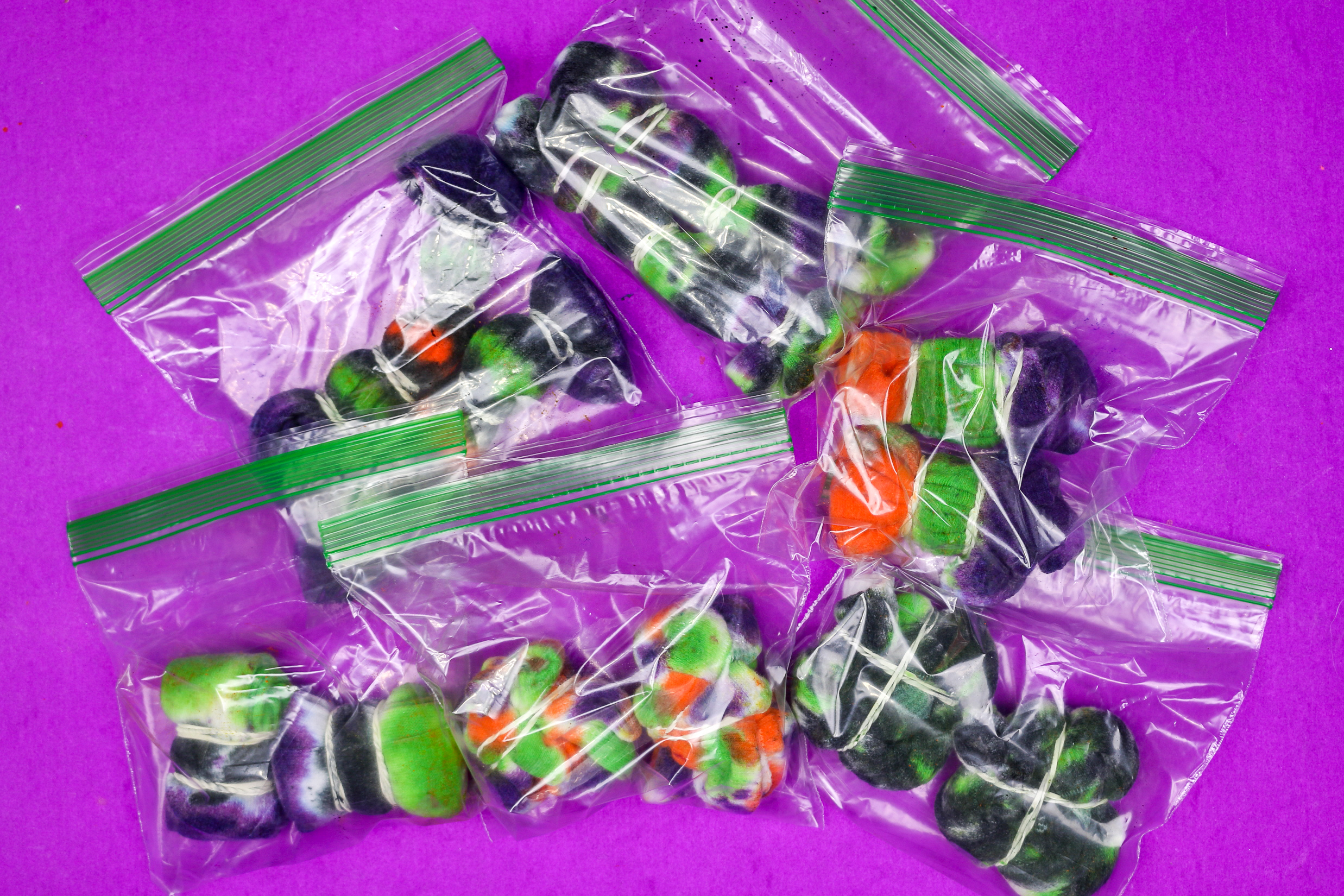 zipper food bags with wet tie dyed socks