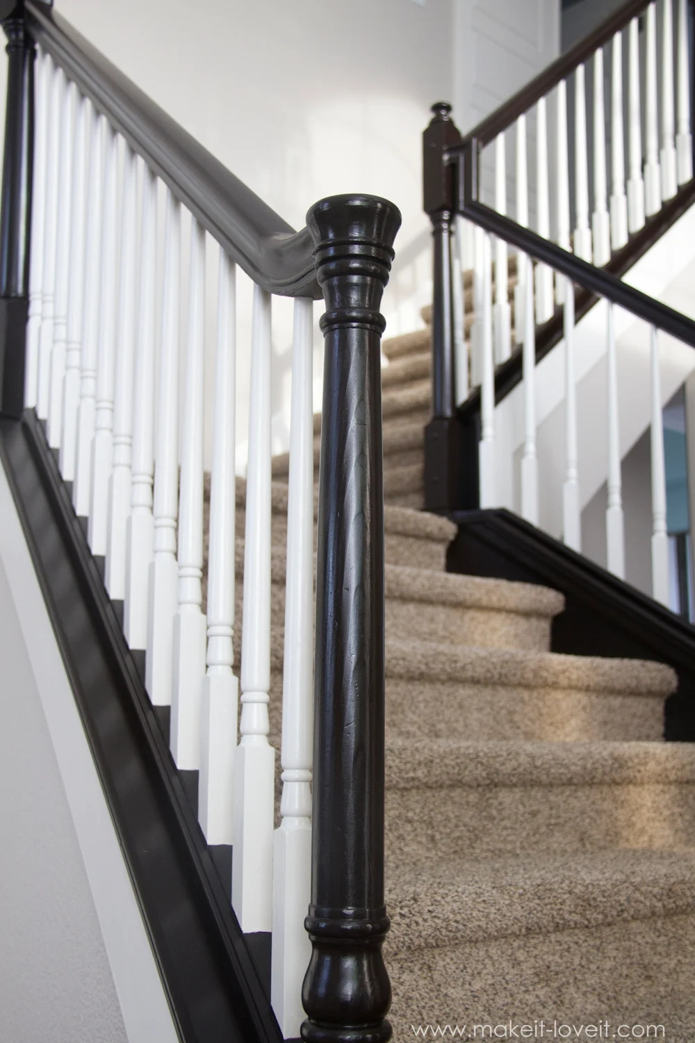 How To Paint Stain Wood Stair Railings Oak Banisters Spindles   Painted Handrails For Stairs   Modern   German Style   House   Pressure Treated   Before And After