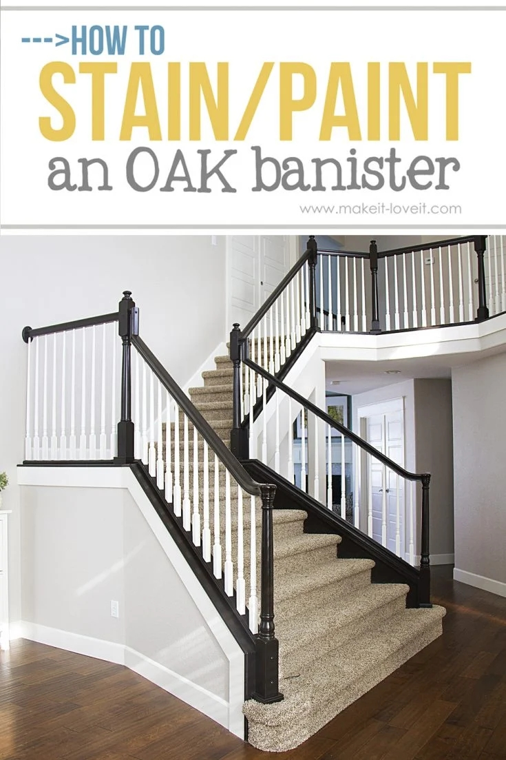 How To Paint Stain Wood Stair Railings Oak Banisters Spindles | Wall To Floor Handrail | Glass | Paint Colors | Staircase | Wrought Iron | Concrete