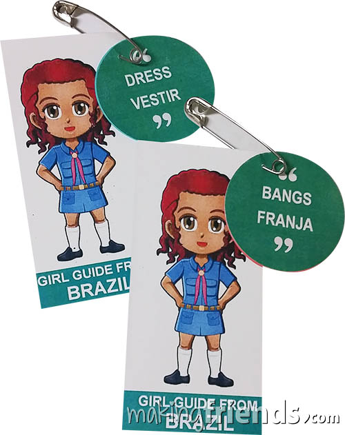 Brazil International Friendship Swap Kit: Learn Portuguese. Superhero Prudence wears a Girl Guide uniform from Brazil for these Thinking Day* crafts. Learn 30 different Portuguese words while you make these pins for swapping. No scissors or glue needed. Kit makes 30. Available at MakingFriends®.com. Information about Brazil, patches, crafts, passports and more for your international event on our pageBrazil  Ideas for Thinking Day*. #thinkingday #swaps #scouts #makingfriends via @gsleader411