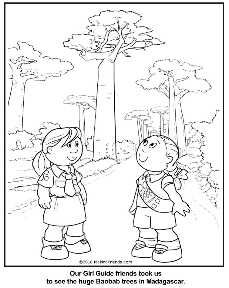 Malagasy Girl Guide Coloring Page for Madagascar