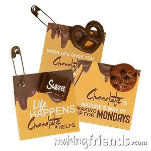 Chocolate Friendship Swaps. Funny, Funny and Yummy Yummy! Great friendship swaps to share at your Valentine celebration or a chocolate fondue party. Also makes a fun pin to trade at international events if your troop chose a country known for chocolate such as Switzerland, Belgium, Germany, Spain, France and Mexico. Available at MakingFriends®.com. via @gsleader411