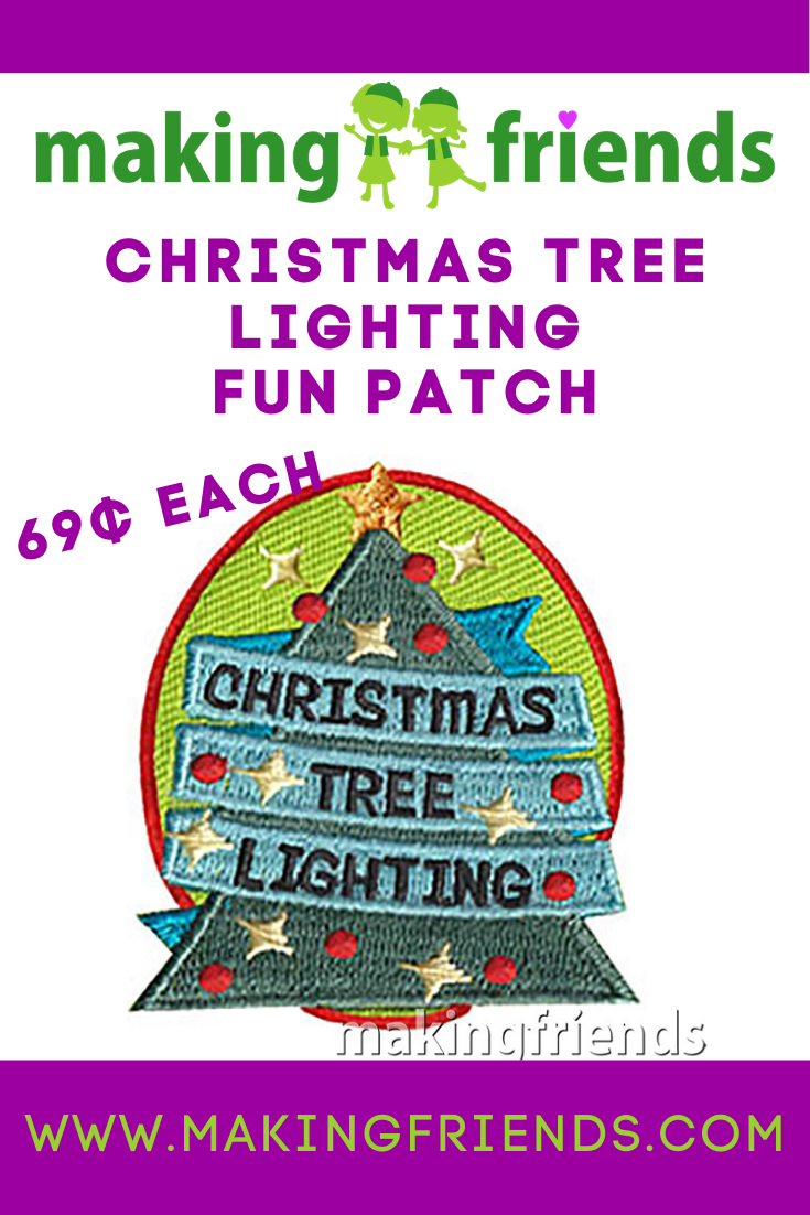 Enjoy a magical tree lighting with your troop and give your scouts the Christmas Tree Lighting Patch! $.69 each free shipping available! #makingfriends #christmastreelighting #christmas #christmastree #christmaspatch #funpatch #gspatch #holidaypatch via @gsleader411
