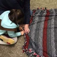 Girl Scout fleece tie shawl