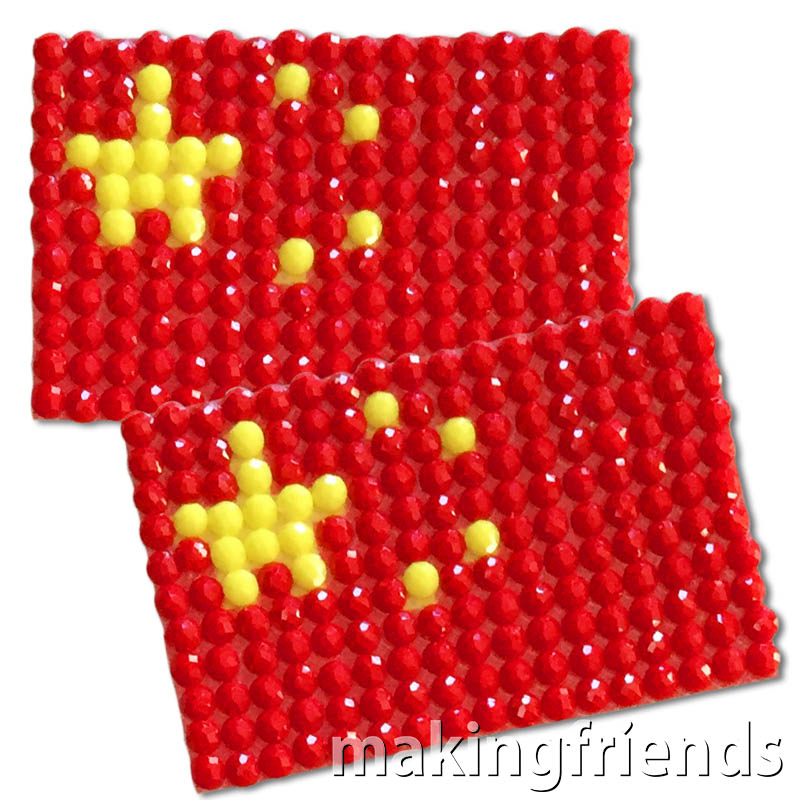 Diamond Painting China flag pin Girl Scout SWAP via @gsleader411