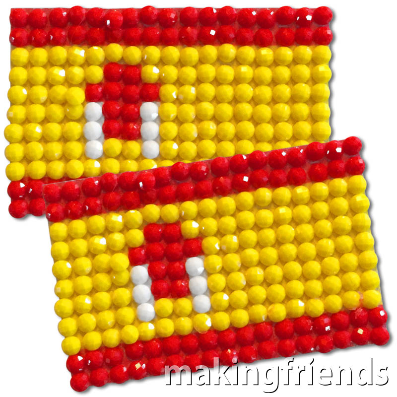 Diamond Painting Spain flag pin Girl Scout SWAP via @gsleader411