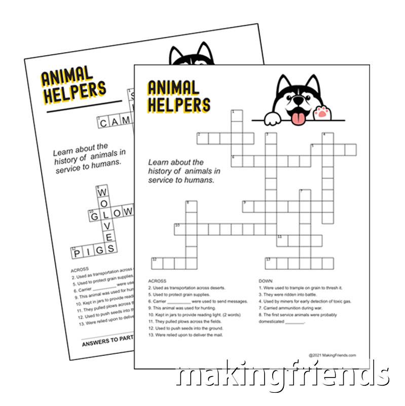 Girl Scout Animal Helper History Crossword via @gsleader411