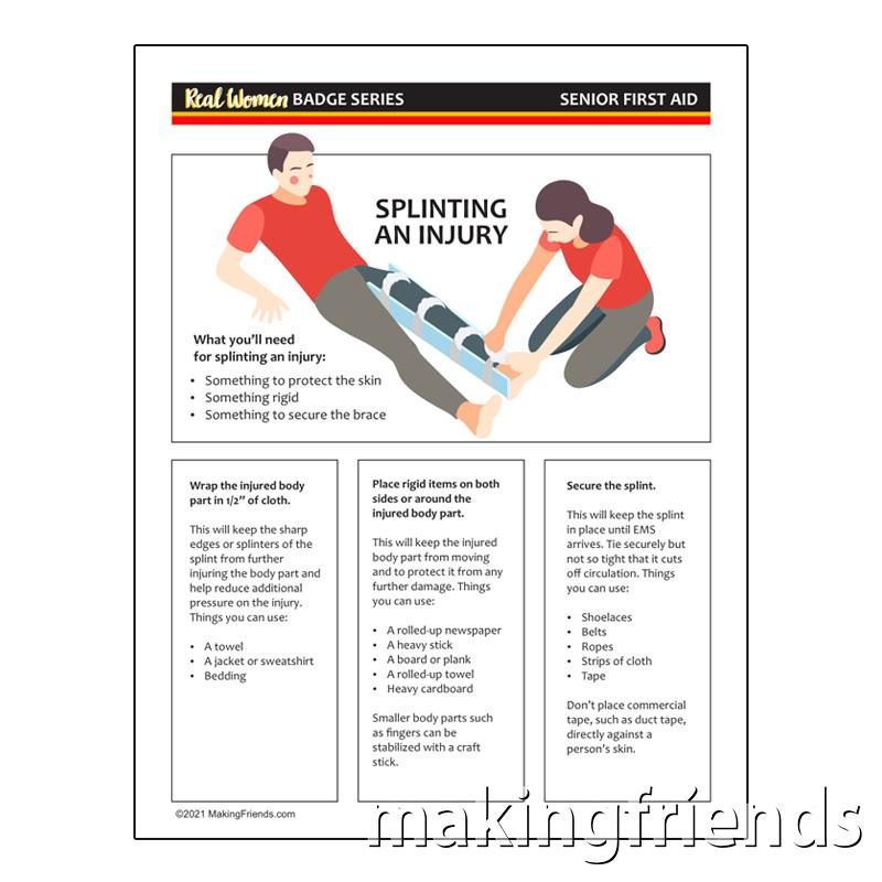 Girl Scout Senior First Aid Splint Worksheet via @gsleader411