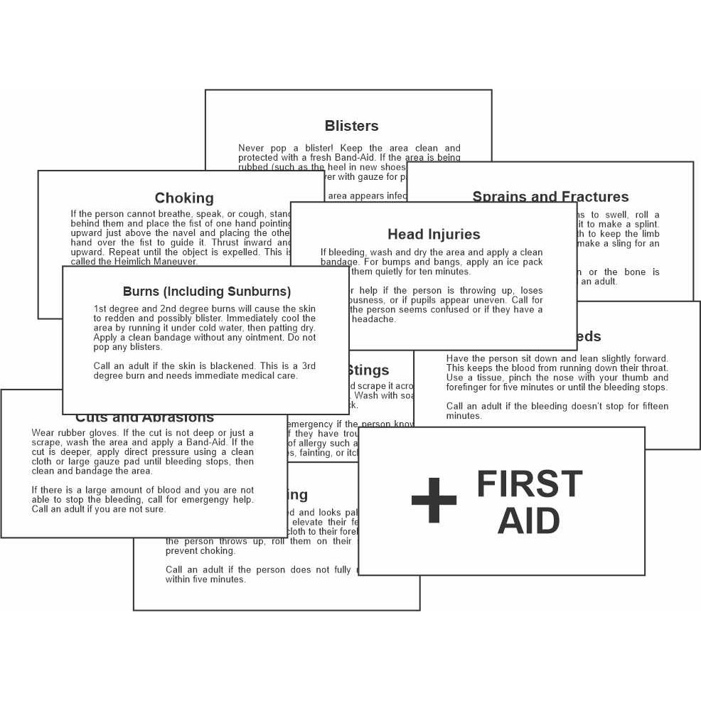 Girl Scout Printable First Aid Cards