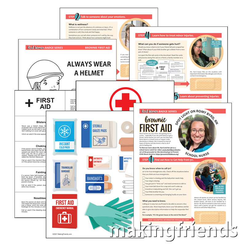 Girl Scout Brownie First Aid Badge Download via @gsleader411