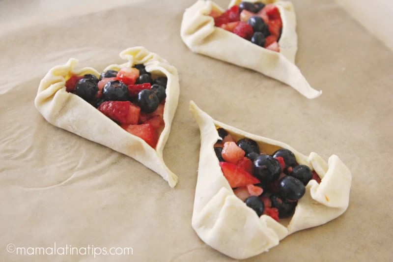 Heart shaped berry tarts before baking