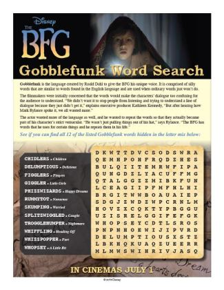 The BFG Coloring Pages and Activity Sheets The BFG Gobblefunk Word Search   Download these free printable The BFG Coloring  Pages and Activity