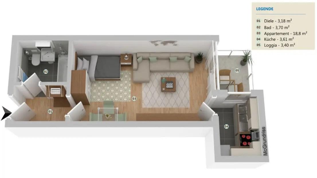 1-Zimmer Wohnung zum Verkauf, 80797 München Mapio.net