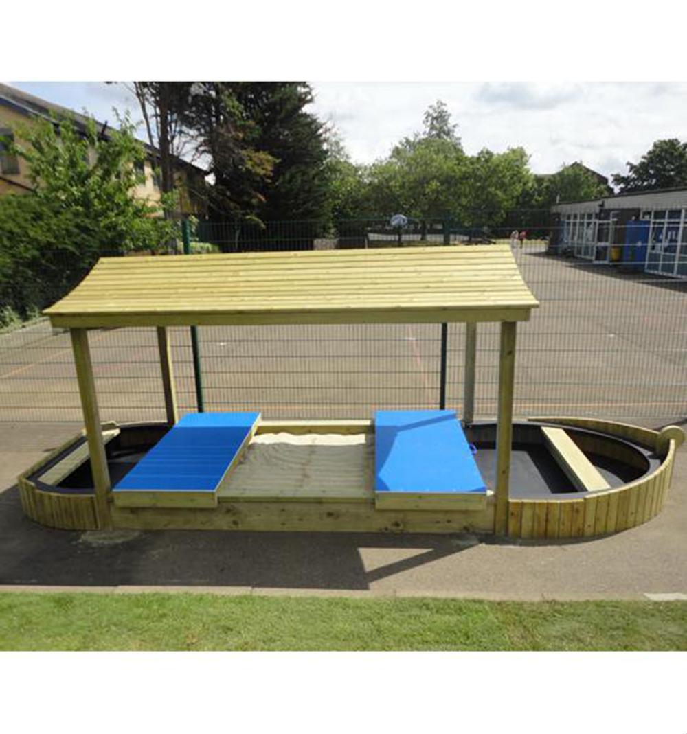 Large Lockable Sandpit Play Boat Maple Leaf Designs