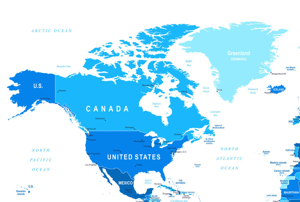 Map of North America | Maps of the USA, Canada and Mexico