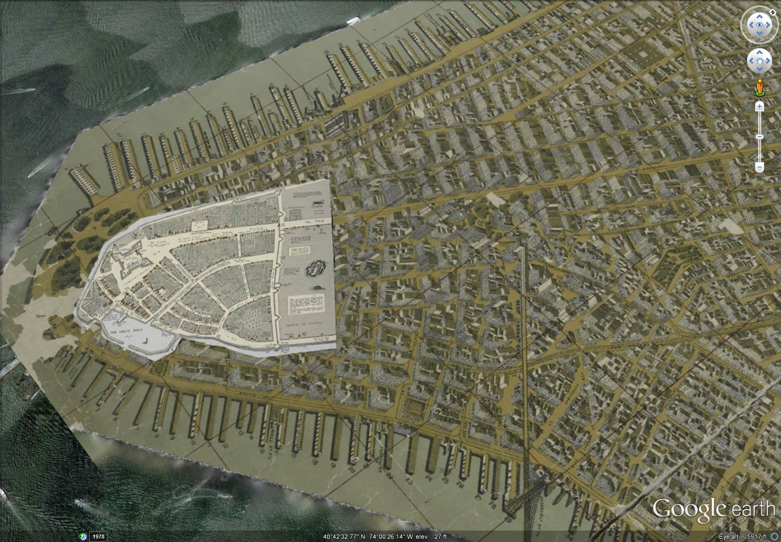 Combined 1660 and 1900 Maps of Manhattan   Mapping New York 1570      1090 in