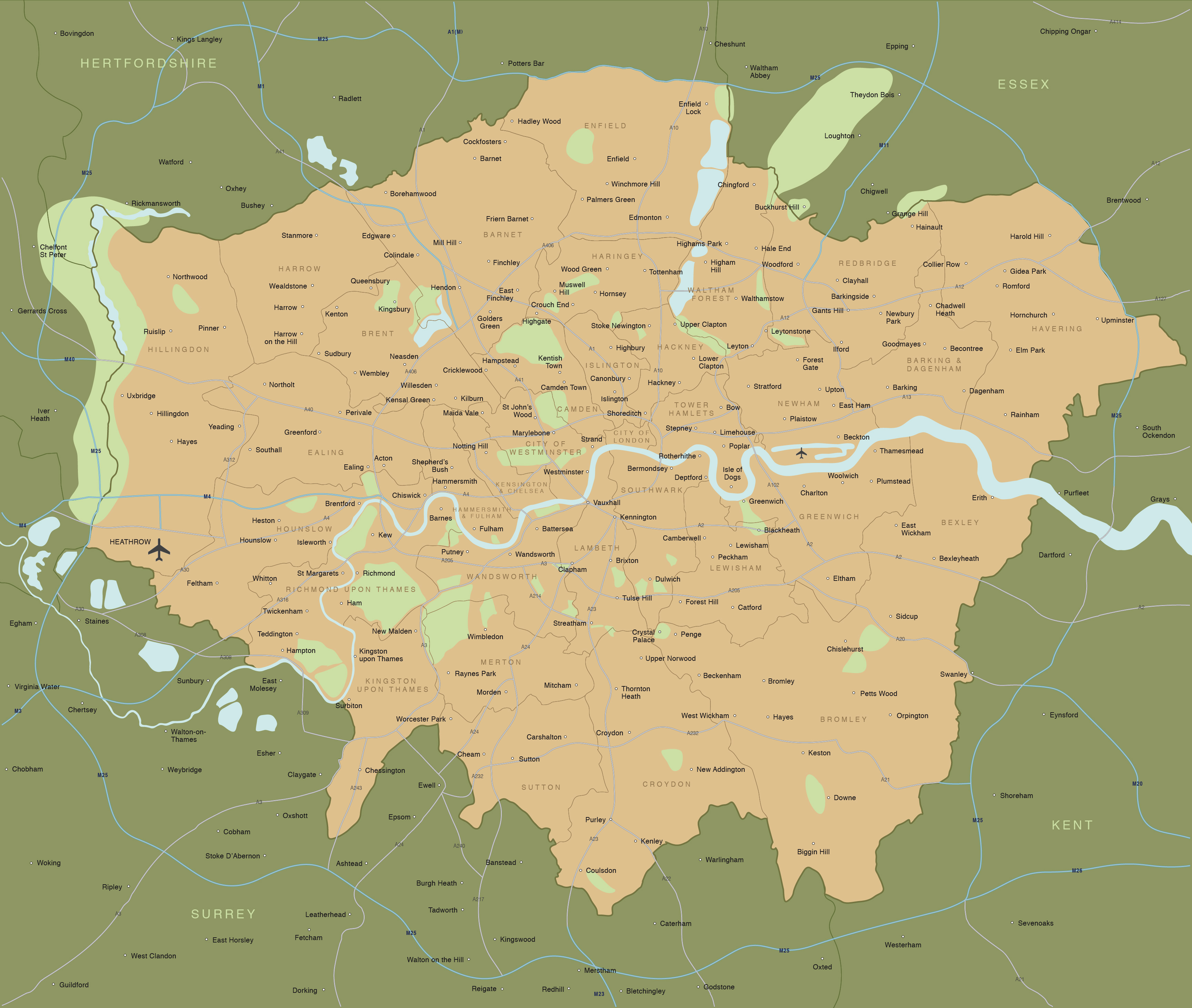 Map of Greater London districts and boroughs   Maproom Greater London map preview preview