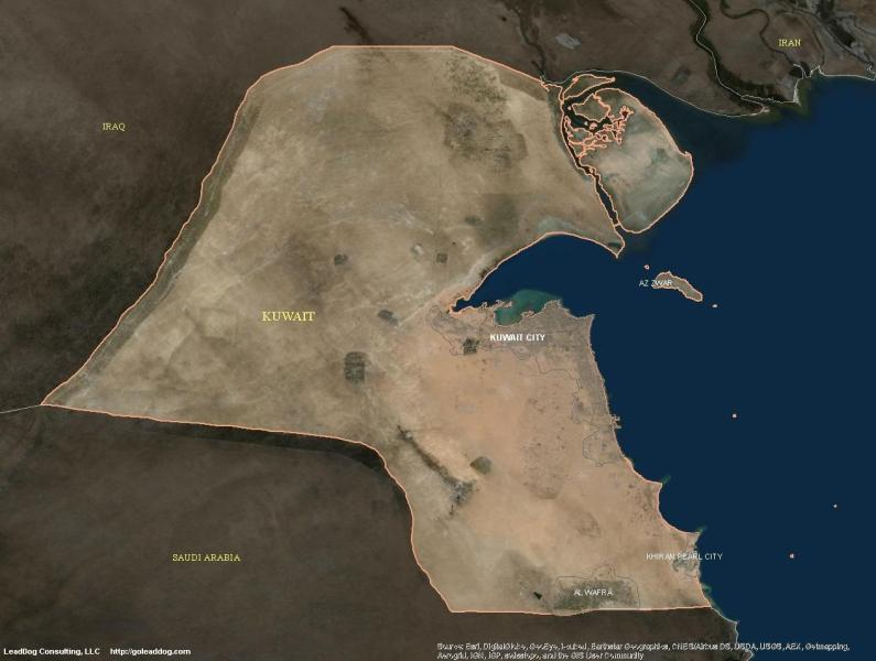 Kuwait satellite map   Map of kuwait satellite  Western Asia   Asia  Map of kuwait satellite
