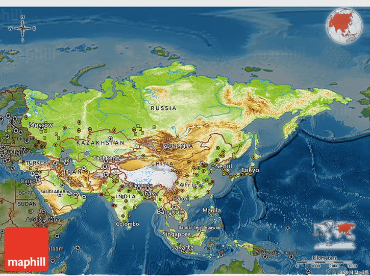 Physical 3D Map of Asia  darken 2D
