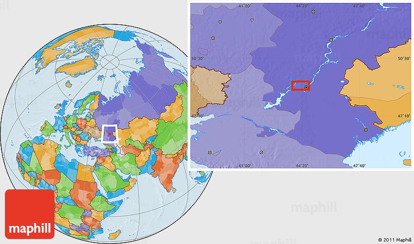 Volgograd Map Russia Showing