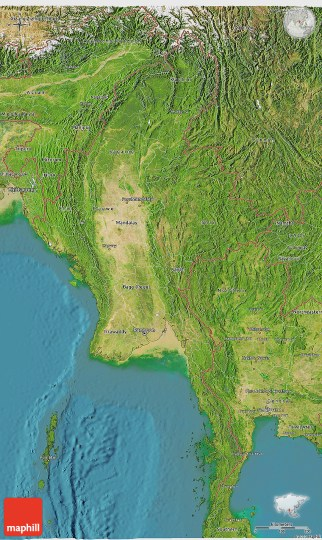 Satellite 3D Map of Burma