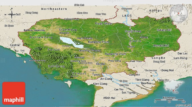 Map cambodia world map full maps satellite panoramic map of cambodia shaded relief outside 2d publicscrutiny Images
