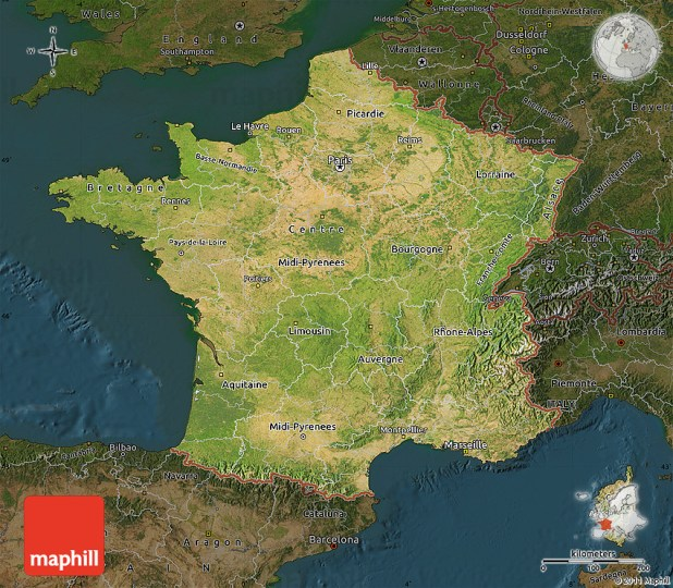 Satellite Map of France  darken 2D