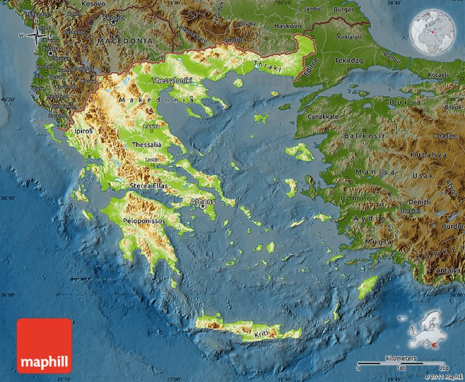 Physical Map of Greece  darken