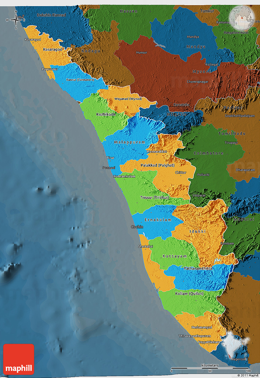 Political 3d Map Of Kerala Darken